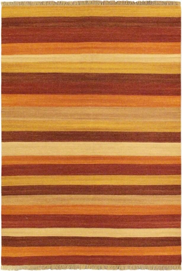 Fiesta Dark Orange Striped Area Rug