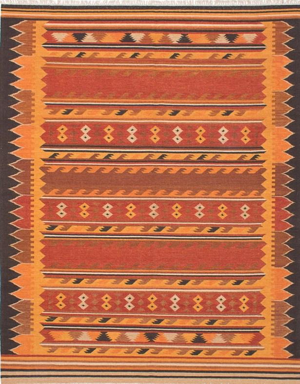 Izmir Hand Woven Wool Orange/Red Indoor Area Rug