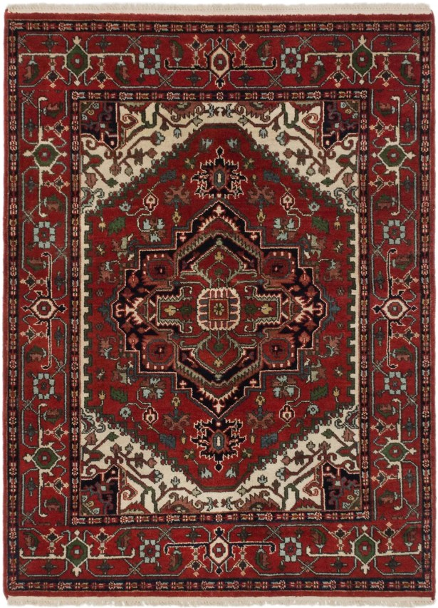 One-of-a-Kind Doerr Hand-Knotted Dark Burgundy/Green Area Rug