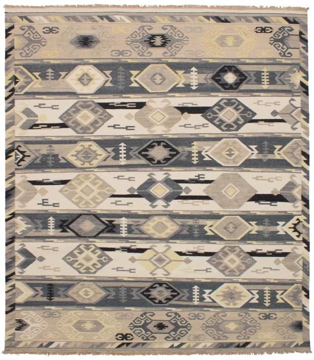 Pavlatka Kilim Hand-Woven Wool Cream/Dark Gray Area Rug Rug Size: Rectangle 8' x 10'