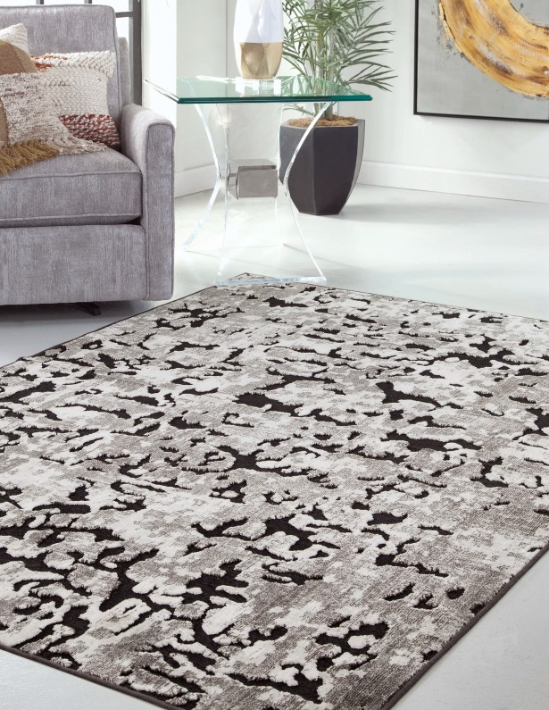 Teague Machine Woven Synthetic/Chenille Black/Ivory Indoor Area Rug Rug Size: Rectangle 5' x 8'