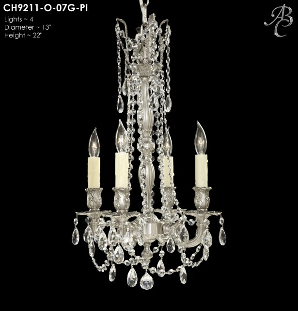 Biella 4-Light Candle Style Chandelier Finish: French Gold Glossy, Crystal: Precision Crystal Oval Clear
