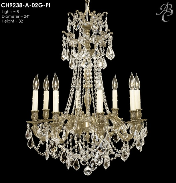 Biella 8-Light Candle Style Chandelier Crystal: Precision Crystal French Pendaloque Clear, Finish: Old Bronze Semi Gloss