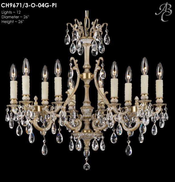 Chateau 12-Light Candle Style Chandelier Finish: Silver, Crystal: Precision Crystal Oval Clear