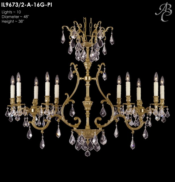 Chateau 10-Light Candle Style Chandelier Crystal: Precision Crystal Oval Clear, Finish: Old Bronze Semi Gloss