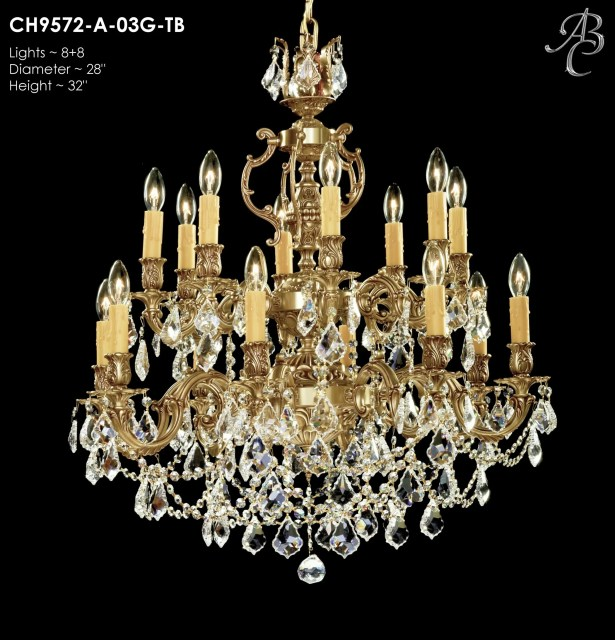 Rosetta 16-Light Candle Style Chandelier Crystal: Precision Crystal French Pendaloque Clear, Finish: Polished Brass with Black Inlay