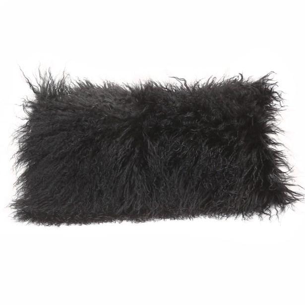 Tibetan Lamb Wool Lumbar Pillow Color: Black