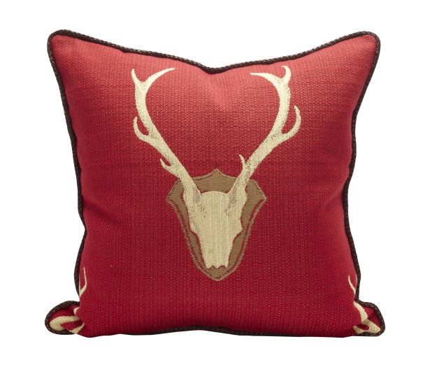 Oh Deer Cotton Throw Pillow Color: Red