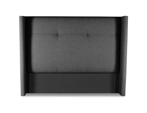 Hansen Simple Tufted Upholstered Wingback Headboard Color: Charcoal, Size: Mid Height King