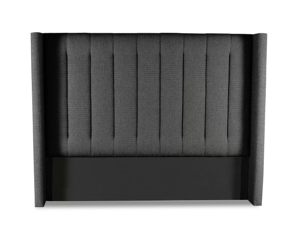 Hansen Vertical Channel Tufting Upholstered Wingback Headboard Color: Charcoal, Size: High Height King