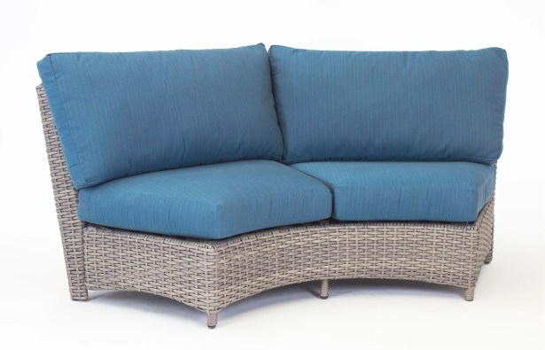 Losey Curved Loveseat with Cushion Frame Color: Stone, Cushion Color: Sand