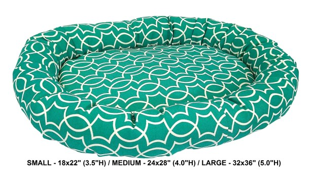 Titan Indoor/Outdoor Bolster Dog Bed Color: Peacock, Size: Super (32
