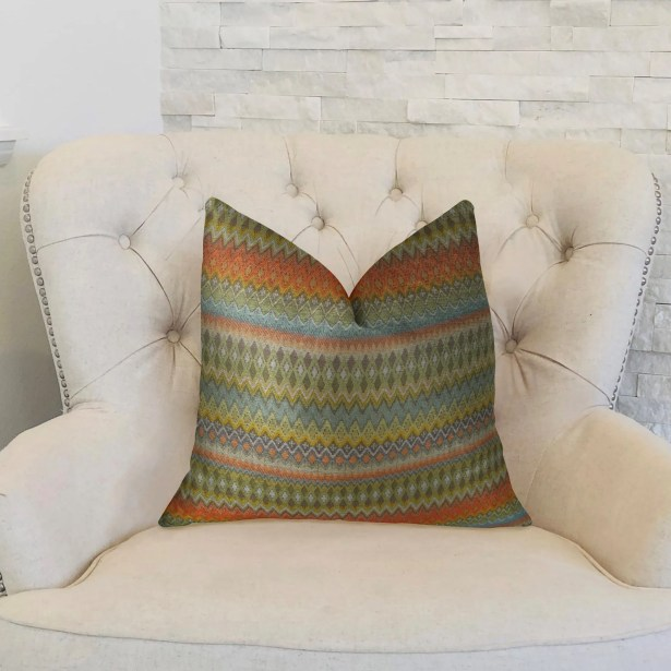 Zig Along Handmade Throw Pillow Size: 12