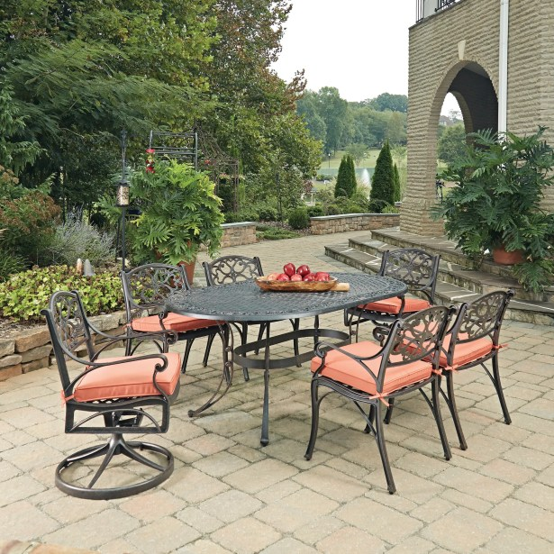 Biscayne Oval 7 Piece Dining Set with Cushion Finish: Rust Bronze