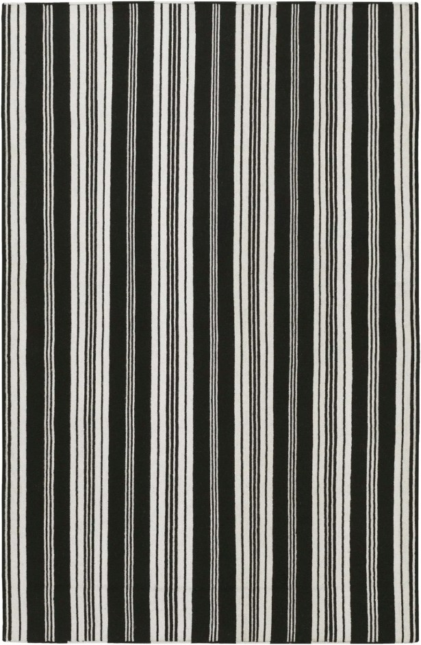 Farmhouse Stripes Hand-Woven Black/Gray Area Rug Rug Size: Rectangle 8' x 11'
