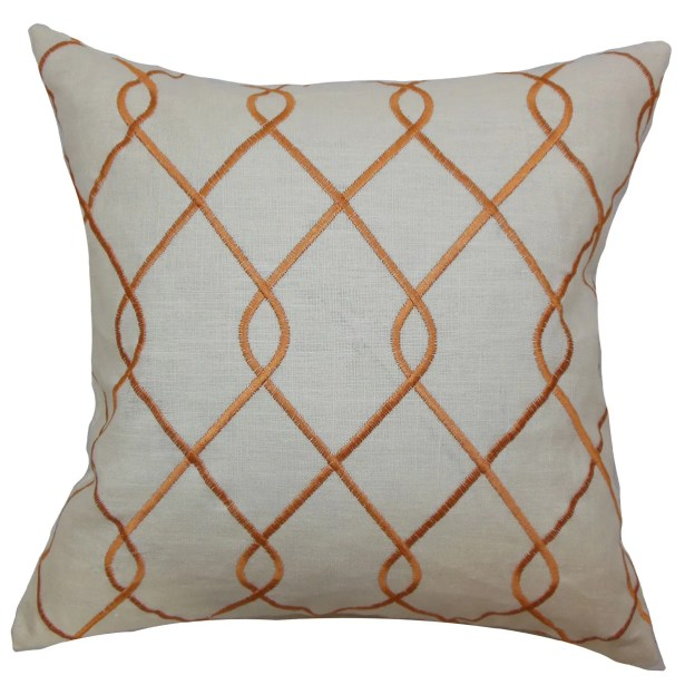 Jolo Geometric Bedding Sham Size: Euro, Color: Papaya