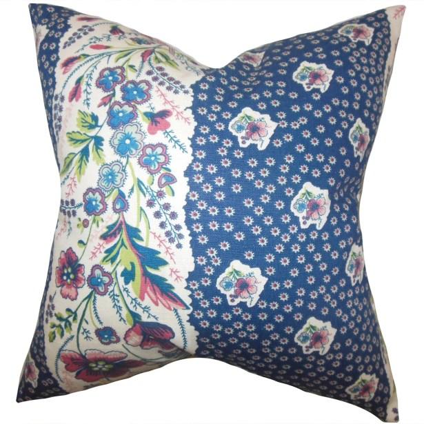 Elske Floral Bedding Sham Size: King, Color: Sapphire