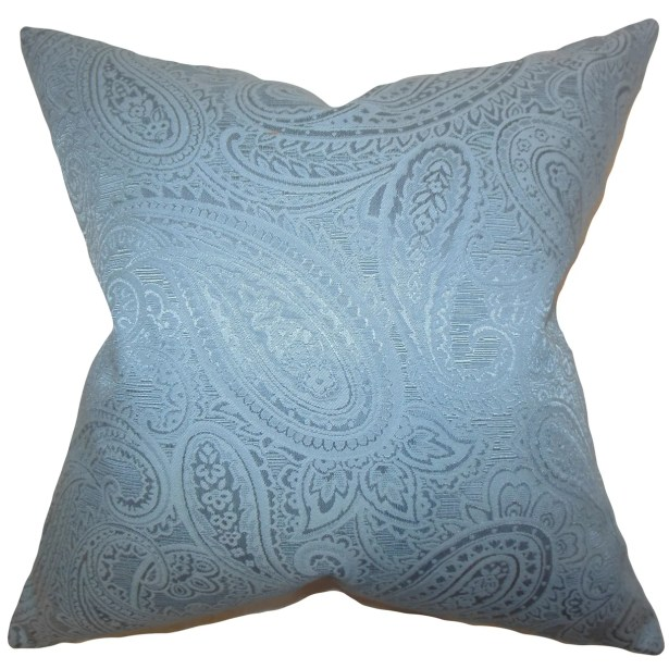 Cashel Paisley Throw Pillow Color: Blue, Size: 20