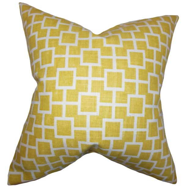 Jakayla Geometric Throw Pillow Color: Yellow, Size: 24
