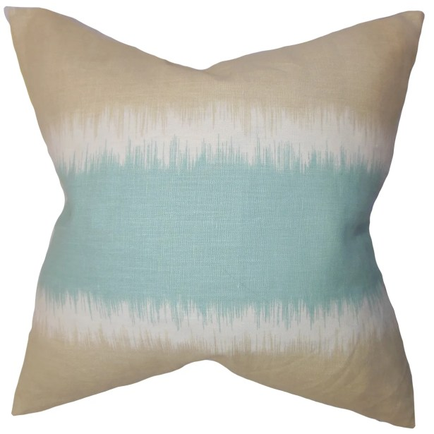 Juba Geometric Linen Throw Pillow Color: Beach, Size: 22
