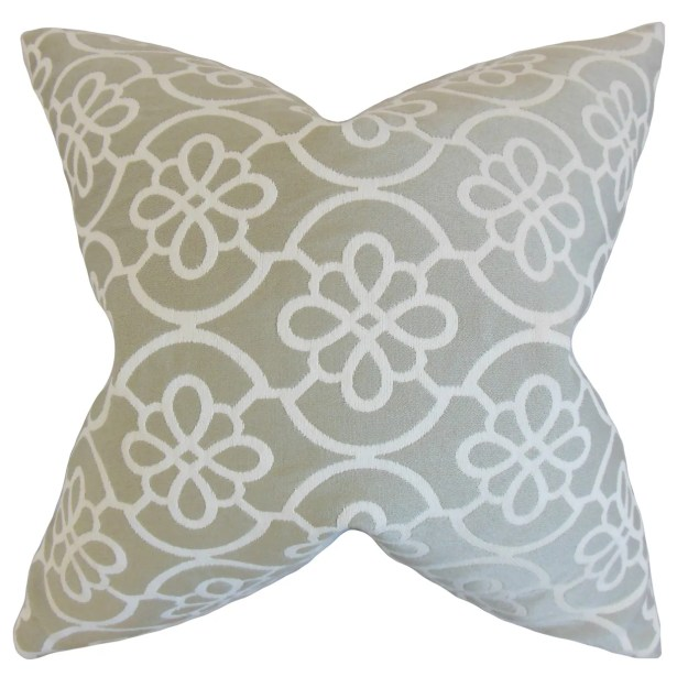 Chaplain Contemporary Geometric Bedding Sham Size: Queen, Color: Dove