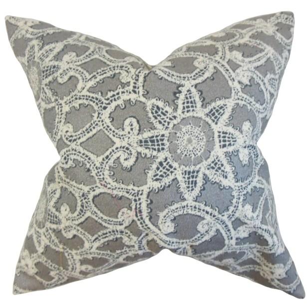 Brinley Geometric Cotton Throw Pillow Color: Platinum, Size: 22