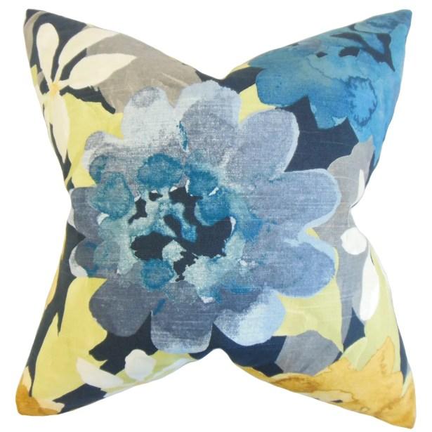 Penrose Floral Bedding Sham Size: Queen, Color: Indigo