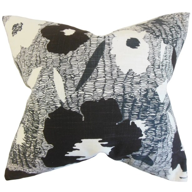 Catrina Geometric Floor Pillow Color: Ink