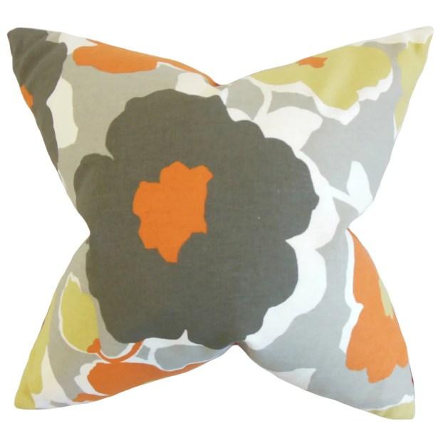 Saar Floral Bedding Sham Size: Queen, Color: Orange