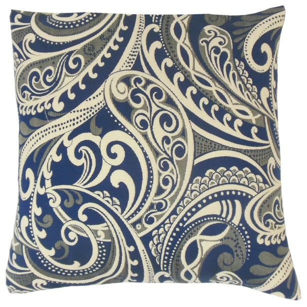 Natashaly Damask Bedding Sham Color: Navy, Size: King