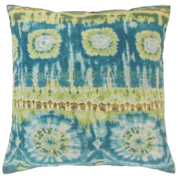 Xantara Ikat Throw Pillow Color: Lagoon, Size: 24