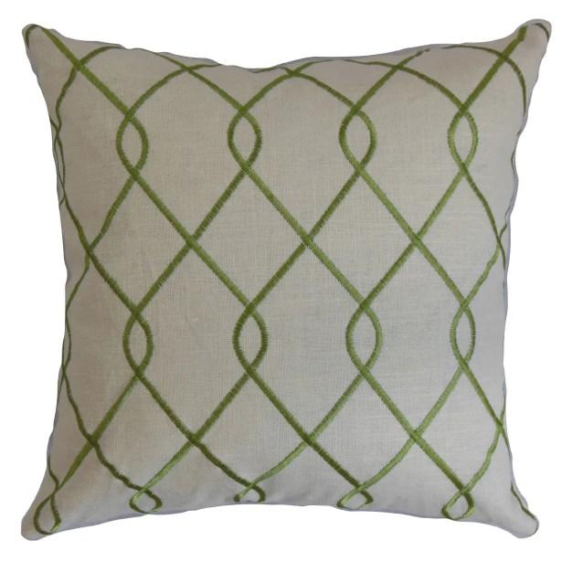 Jolo Geometric Linen Throw Pillow Color: Jungle Green, Size: 20