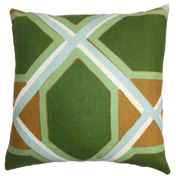 Bullis Geometric Bedding Sham Size: Euro, Color: Green/Orange