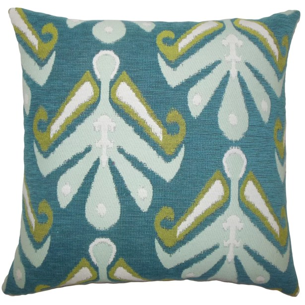 Berke Ikat Bedding Sham Size: Euro, Color: Aqua Green