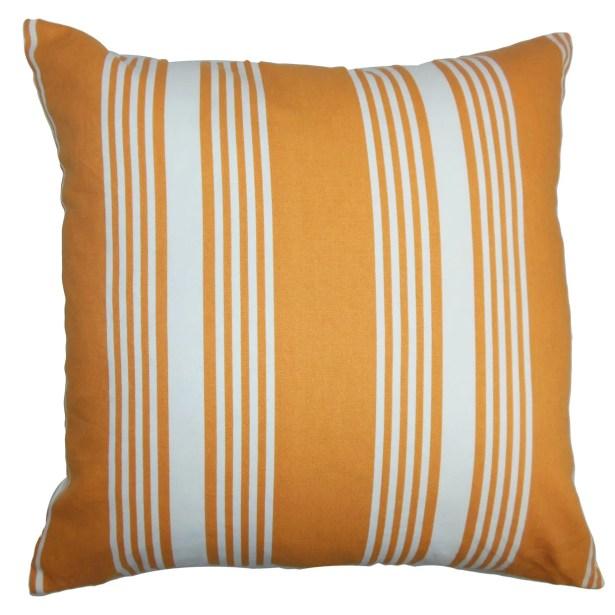 Sharpe Stripes Floor Pillow Color: Orange/White