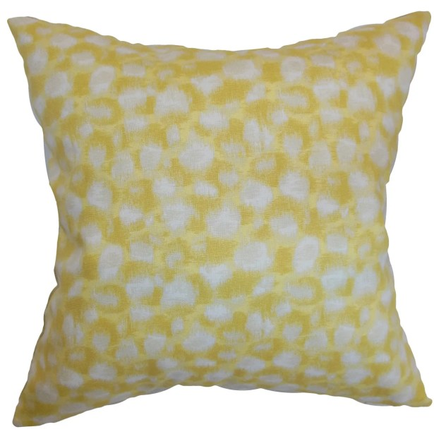 Kibby Geometric Floor Pillow Color: Banana