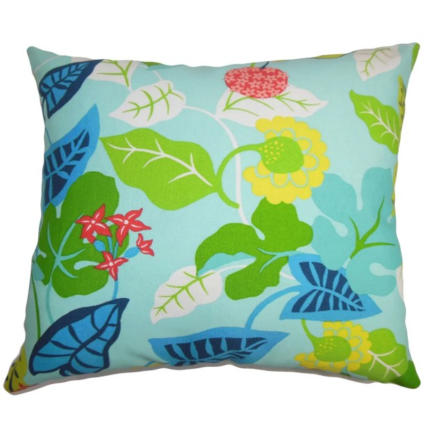 Cole Floral Outdoor Floor Pillow Color: Turquoise/Green