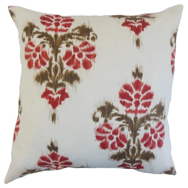 Albermarle Ikat Floor Pillow Color: Red
