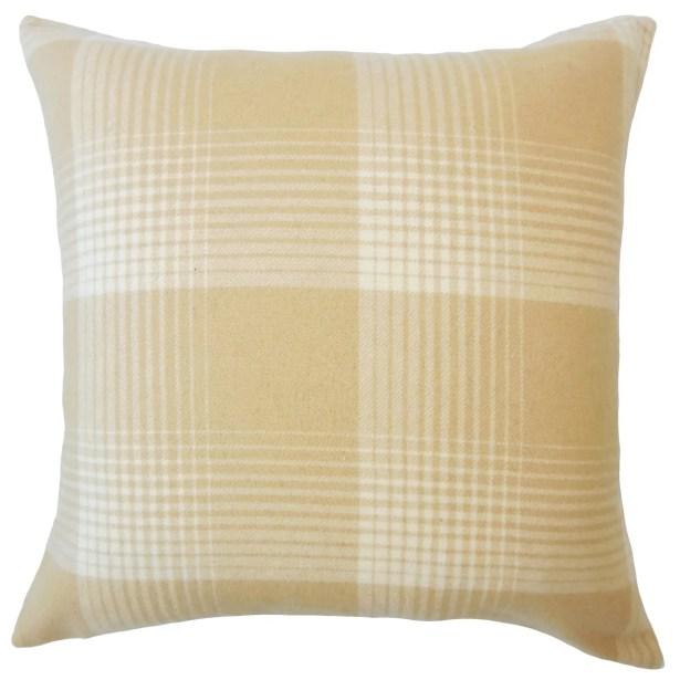 Wigginton Plaid Down Filled Velvet Throw Pillow Size: 24