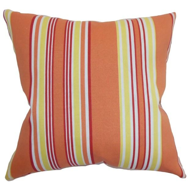 Fergus Stripes Throw Pillow Color: Blaze, Size: 20