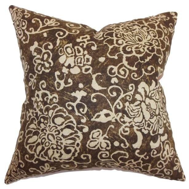 Jaffna Floral Bedding Sham Color: Chocolate, Size: Standard