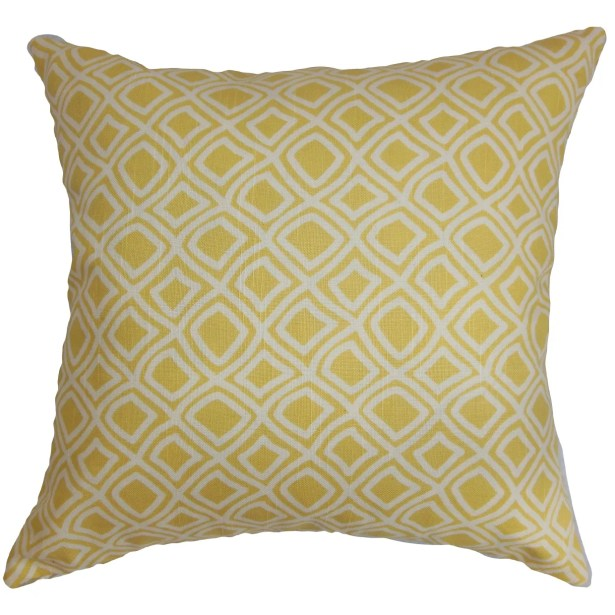 Cacia Geometric Bedding Sham Size: Queen, Color: Yellow