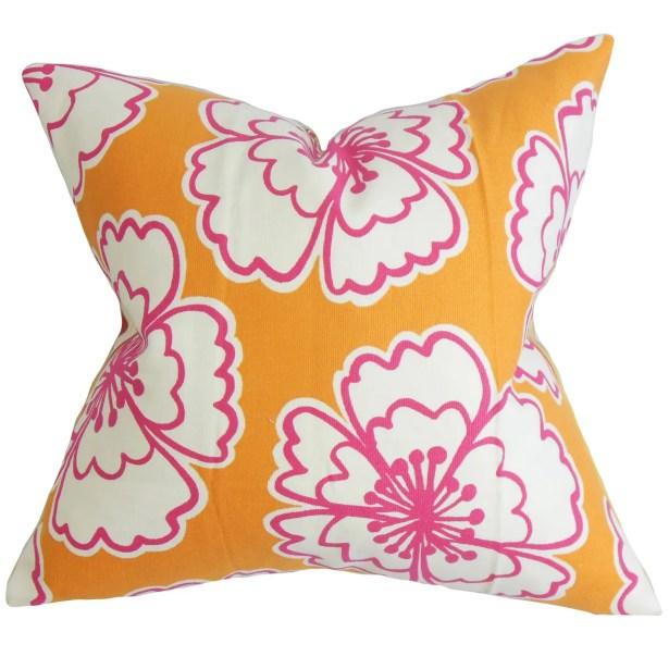 Burgoyne Floral Bedding Sham Size: King, Color: Orange