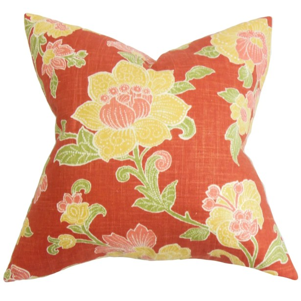 Duscha Floral Throw Pillow Cover Size: 20