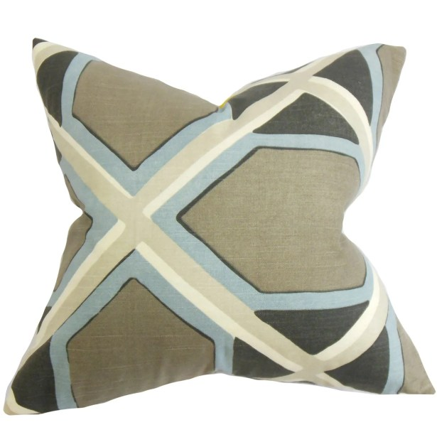 Otthild Geometric Bedding Sham Size: Euro, Color: Gray/Blue