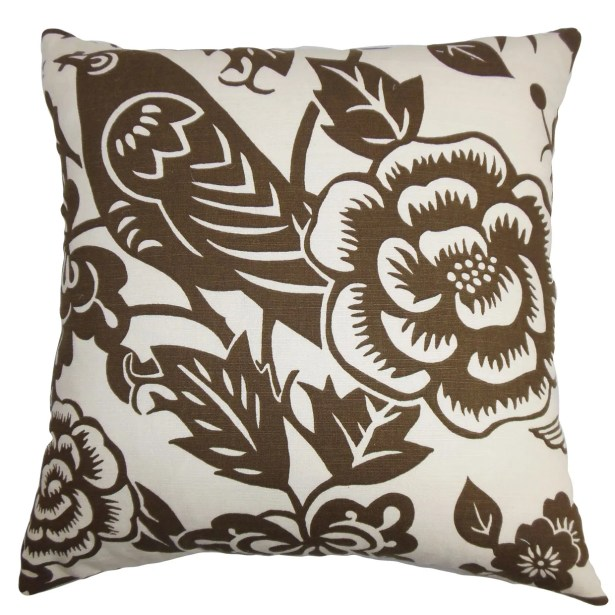 Campeche Cotton Throw Pillow Color: Brown / White, Size: 24