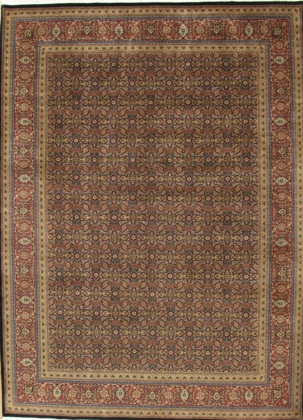 Tabriz Hand Knotted Wool Navy/Rust Area Rug Rug Size: Rectangle 3' x 5'