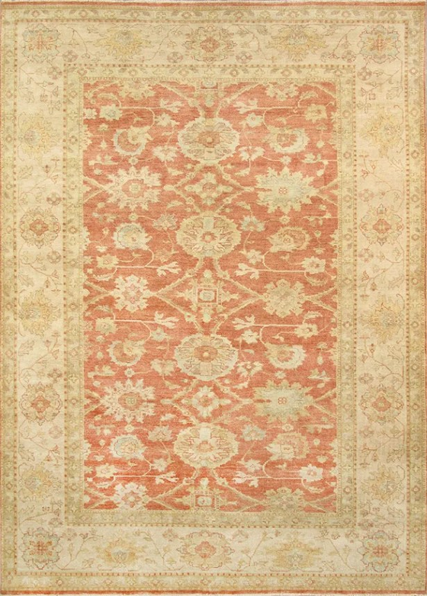 Sultanabad Hand-Knotted Wool Coral/Ivory Area Rug Rug Size: Rectangle 10'3