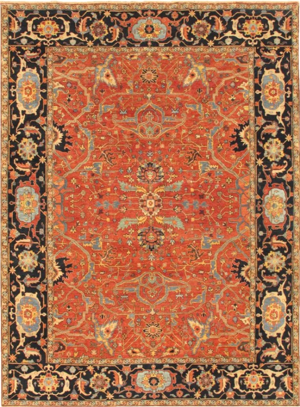Ferehan Hand-Knotted Wool Rust Area Rug Rug Size: Rectangle 6' x 9'