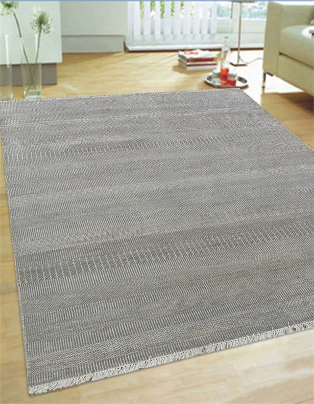 Hand-Knotted Wool and Rayon from Bamboo Silk Area Rug Rug Size: 5'6